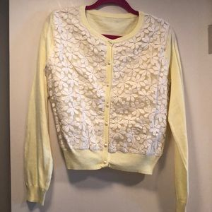 Ladies long sleeve button front sweater